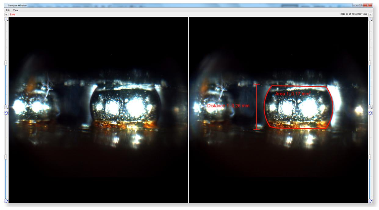 Verwendung des BGA-Systems zum Vergleich des Live-Bildes mit einem Referenzbild, Live-Bild links, Referenzbild rechts